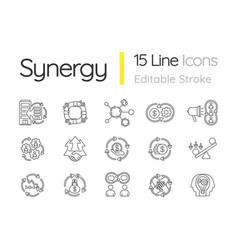 Synergy linear icons set vector