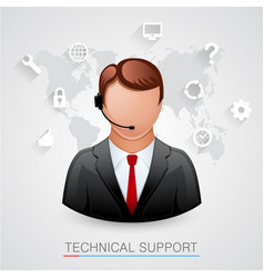 Technical support background man with icons vector