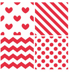 tile pattern set with red and white background vector image