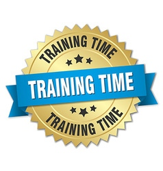 training time 3d gold badge with blue ribbon vector image