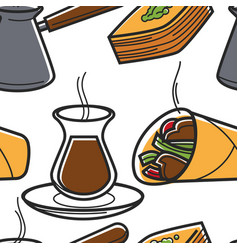Turkish food seamless pattern cuisine and drinks vector