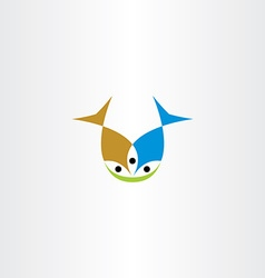 two fish eating icon vector image