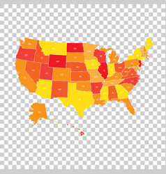 usa map with federal states united states of vector image