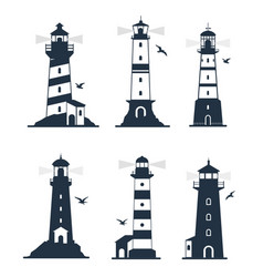 various lighthouse marine labels and emblems vector image