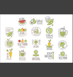 vegan raw and healthy food promo labels collection vector image