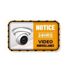 video surveillance notice nameplate banner vector image