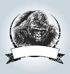 Vintage label with gorilla head vector