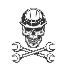 vintage monochrome skull in builder helmet vector image
