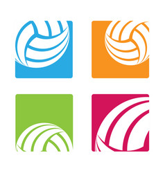 volleyball square stickers vector image