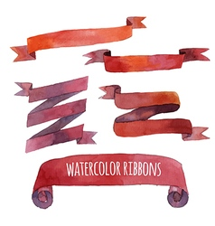 Watercolor set of ribbons banners vector image