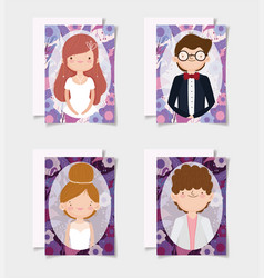 wedding couple grooms and brides flowers border vector image
