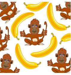 wildlife ape and banana decorative pattern vector image