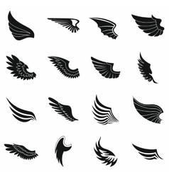 Wings icons set black simple style vector