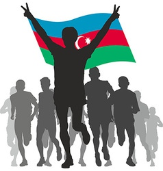 Winner with the azerbaijan at the finish vector