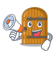 With megaphone cartoon wooden door massive closed vector