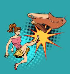 Woman and fashion girl kicks shoes vector