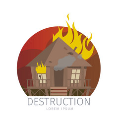 wooden bungalow in flame vector image
