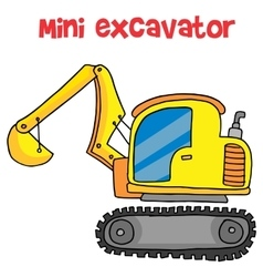 Yellow mini excavator cartoon vector