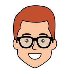 Young man head avatar with glasses vector