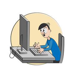 cartoon man worried with computer vector image