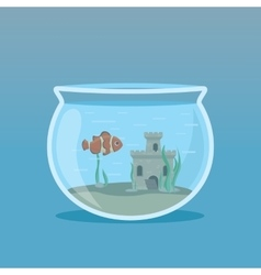 Clown Fish in an aquarium with algae and castles vector image vector image
