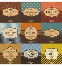 Collection of Vintage Quality Labels And Frames vector image vector image