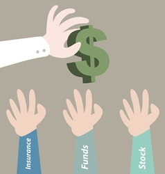 Hand pick dollar currency for investment vector image