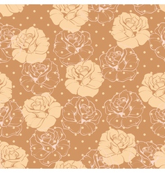Seamless retro floral pattern with beige roses vector image vector image