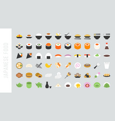 big set of japanese food and beverage flat icon vector image