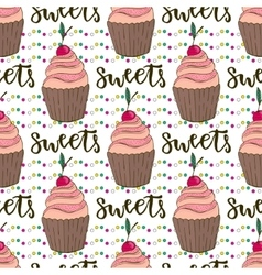 cupcakes seamless pattern Doodle vector image vector image