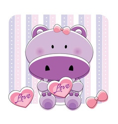 hippo love vector image