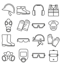 Linear job safety equipment icons set vector image vector image