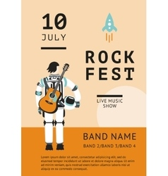 Rock festival poster with an astronaut vector image vector image