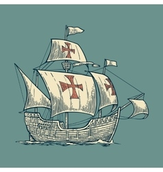 Sailing ship floating on the sea waves vector image vector image