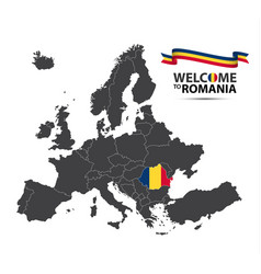 map of europe with the state of romania vector image vector image
