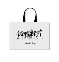shopping bag with girls sketch for your design vector image