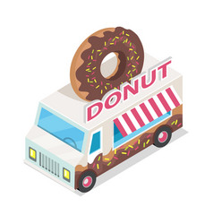 donut trolley in isometric projection doughnut vector image