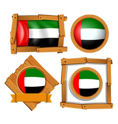 Flag icon design for arab emirates in different vector
