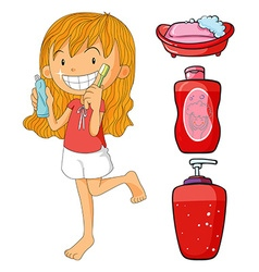 Girl in red brushing teeth vector image vector image