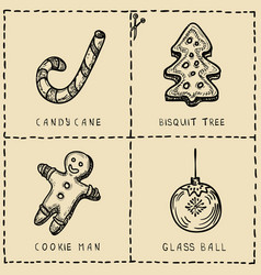 set of cut out cards with xmas symboils hand vector image