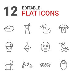12 child icons vector