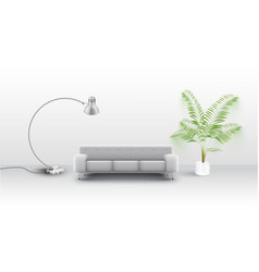 a white couch with a lap and a plant vector image
