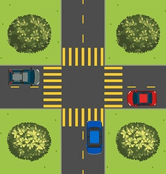 Aerial view cars at intersection vector