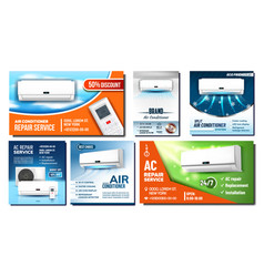 Air conditioner advertising posters set vector
