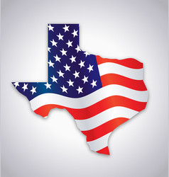 america usa flag in texas tx state map vector image