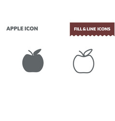 apple icon fill and line flat design ui vector image
