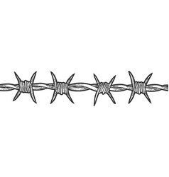 Barbed wire sketch engraving vector