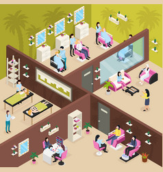 Beauty center isometric composition vector