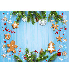 blue rustic christmas template vector image