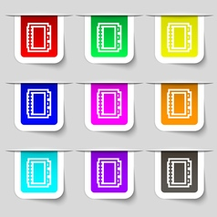 Book icon sign Set of multicolored modern labels vector image